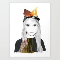cara delevingne Art Prints featuring CARA DELEVINGNE by Nora Fikse