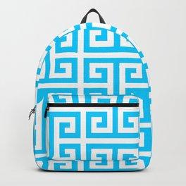 Large Aqua Blue Greek Key Pattern Backpack