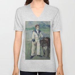 Henri de Toulouse-Lautrec - L'Enfant au chien, fils de Madame Marthe et la chienne Pamela, Taussat Unisex V-Neck