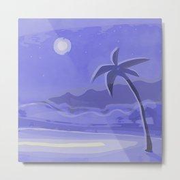 Beach, Palm, Moon Metal Print