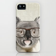 A baby koala with glasses on a rustic background iPhone (5, 5s) Slim Case