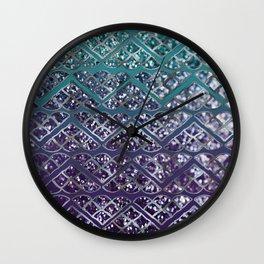 Purple Aqua MERMAID Glitter Scales Dream #2 #shiny #decor #art #society6 Wall Clock