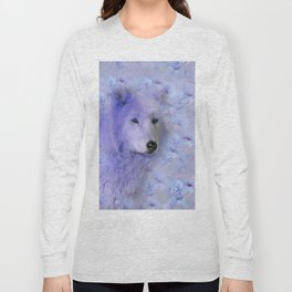 WOLF BLUE LILAC PURPLE FLOWER SPARKLE Long Sleeve T-shirt