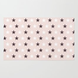 Deep purple and white stars on pale pink Rug