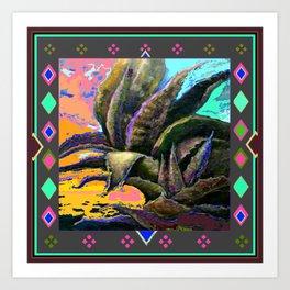 WESTERN DUSKY GREY COLOR DESERT  AGAVE Art Print