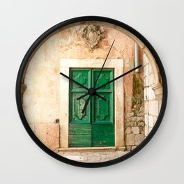 Green Door Kotor Montenegro Wall Clock