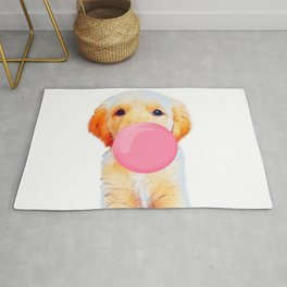 Cute golden retriever with chewing gum Rug