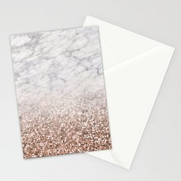 Bold ombre rose gold glitter - white marble Stationery Cards