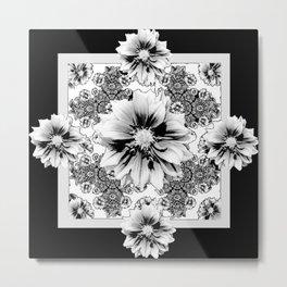 Black & White Geometric Floral Metal Print