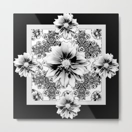 Black & White Geometric Floral Metal Print