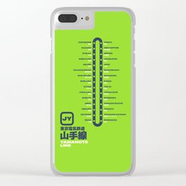 Yamanote Line Tokyo Train Station List Map - Lime Clear iPhone Case