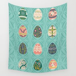 Floral Easter Eggs - Aqua Wall Tapestry