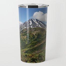 Picturesque summer panorama of volcanic landscape in Kamchatka Peninsula Travel Mug
