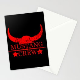 Mustang crew wild west emblem red Stationery Cards