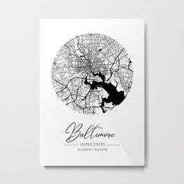 Baltimore Area City Map, Baltimore Circle City Maps Print, Baltimore Black Water City Maps Metal Print