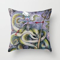 ursula Throw Pillows featuring Ursula by Jena Sinclair