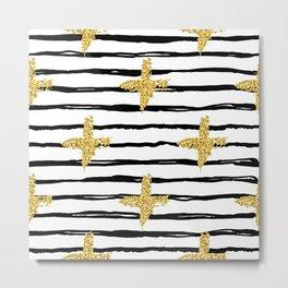 Gold glitter cross and black stripe Metal Print