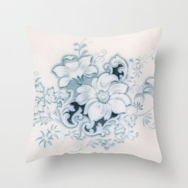 Vintage Flower Flow Throw Pillow