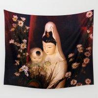 budi satria kwan Wall Tapestries featuring Quan Yin/ Kwan Yin by Bella Mahri-PhotoArt By Tina