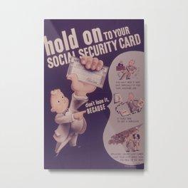 Vintage poster - Social Security Card Metal Print