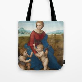 Madonna in the Meadow by Raphael Tote Bag