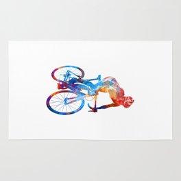 Woman triathlon cycling 06 Rug