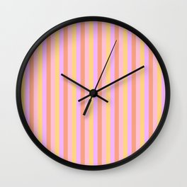 Hibiscus Hawaiian Flower Cabana Stripes in Pink, Yellow, Peach and Lilac Wall Clock