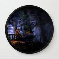 castlevania Wall Clocks featuring Castlevania: Vampire Variations- Bridge by LightningArts