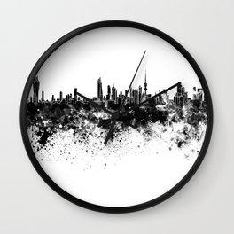 Kuwait City skyline in black watercolor Wall Clock