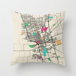 Colorful City Maps: Stockton, California Throw Pillow