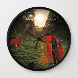 Red Witches dance Wall Clock