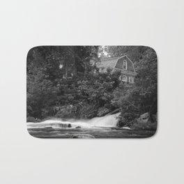 River and Church Black & White Landscape Rural Photograph Bath Mat