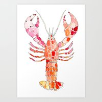 lobster Art Prints featuring Lobster by fossilized