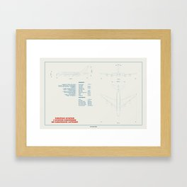 Airbus A380 plane technical drawing Framed Art Print