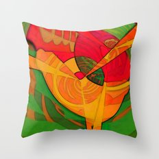 Tropical Farm Woman Throw Pillow