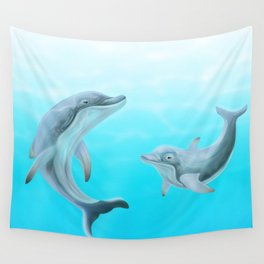 Dolphins Swimming in the Ocean Wall Tapestry
