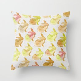 Watercolor Bunnies 1G by Kathy Morton Stanion Throw Pillow