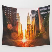 skyline Wall Tapestries featuring NYC Skyline Sunset by Vivienne Gucwa
