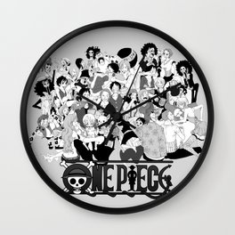 OnePiece Characters blackwhite Wall Clock