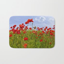 Field of Poppies   panoramic view Bath Mat