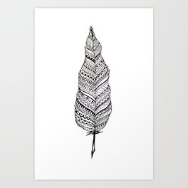 Aztec black and white feather Art Print
