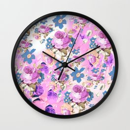 ROSES GIRLY PINK PURPLE AND BLUE FLOWER PATTERN Wall Clock