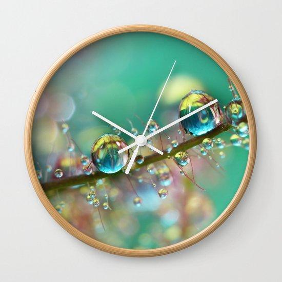Smokey Rainbow Drops Wall Clock