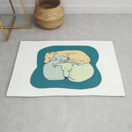 Three Italian Greyhounds Sleeping Together - Iggy Doggies - Teal, Yellow, Petroleum Rug