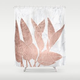 Modern faux Rose gold leaf tropical white marble illustration Shower Curtain