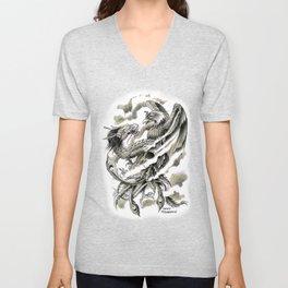 Dragon Phoenix Tattoo Art Print Unisex V-Neck