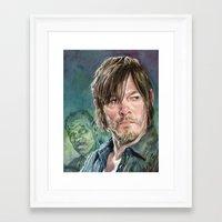 daryl dixon Framed Art Prints featuring Daryl Dixon by Mark Satchwill Art