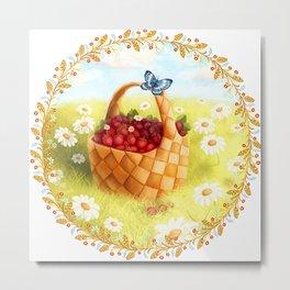 Basket with berries Metal Print