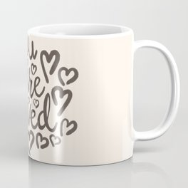 You Are Loved, Hand-written Typography Artwork With Doodle Hearts Coffee Mug