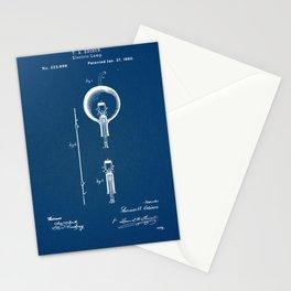 Edison light bulb blue Stationery Cards